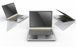 Three laptops Stock Photos