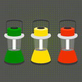 Three large desktop flashlight in the colors of a traffic light. Vector Royalty Free Stock Photography