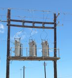 Electrical Transformers low angle stock photo