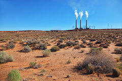 Three large pipes in the desert Stock Photography