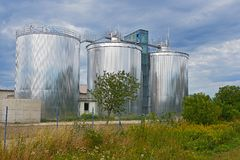 Three large settling tanks for the sewage treatment plant. And blue sky Royalty Free Stock Photo