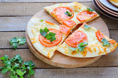 Three large slices of pizza margarita Stock Images
