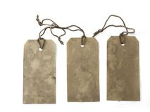Three large stained tags Stock Photography