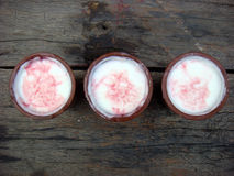 Three lassi on wooden board. Sweet drink lassi is very famous in summer season in India Royalty Free Stock Photos