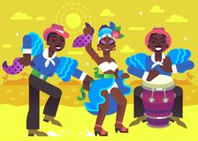 Two Rumba Dancers and Drummer. Three Latin People Play Music and Dance dressed in a National Costumes Royalty Free Stock Image