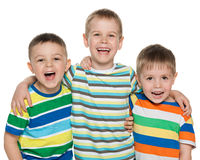 Three laughing boys Stock Photo