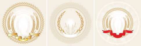 Three laurel wreath and ribbon Stock Photography