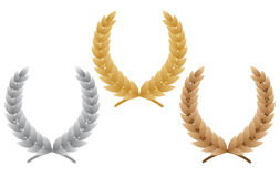 Three laurel wreaths Stock Image