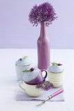 Three lavender cupcakes Stock Photography