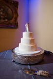 Three layer white wedding cake Royalty Free Stock Photography