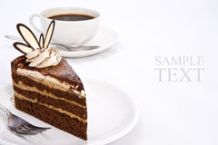 Three Layers Chocolate Cake And Espresso Coffee Stock Photos