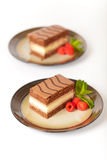 Three Layers Chocolate Cake Royalty Free Stock Image