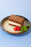 Three Layers Chocolate Cake Royalty Free Stock Photography
