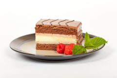 Three Layers Chocolate Cake. Macro Royalty Free Stock Photo