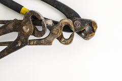 Three Layers of Rusty Pincer Pliers Royalty Free Stock Image
