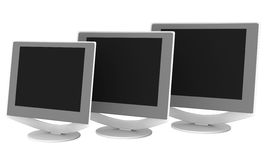 Three LCD monitors. Rendered LCD monitors standing in line vector illustration