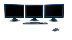 Three lcd monitors isolated on white background Royalty Free Stock Photography