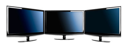 Three lcd TV's Royalty Free Stock Image