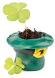 Three leaf clover and Green Leprechaun Hat Royalty Free Stock Photo
