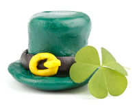Three leaf clover and Green Leprechaun Hat Stock Photo