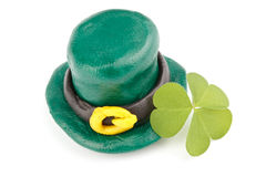 Three leaf clover and Green Leprechaun Hat Royalty Free Stock Image