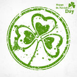 Three leaf clover grunge in round Royalty Free Stock Images