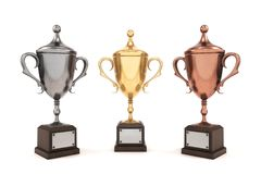 Three League Cup on white background. Gold, silver and bronze cu Stock Photography