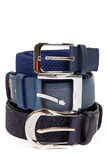 Three leather belt isolated Stock Photos