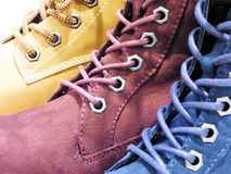 Three leather boots for women. Yellow,blue,red Stock Images