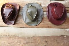 Three Leather Cowboy Hats Stock Photo