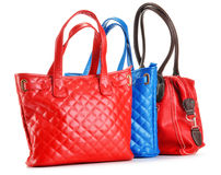 Three leather handbags on white Stock Images