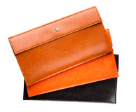 Three leather purse on a white background Royalty Free Stock Photography