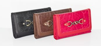 Three leather wallets Stock Images