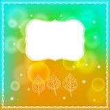 Three leaves and frame on bokeh background. Vector illustration of three leaves and ornamental frame on abstract bokeh background. Modern drawing for autumn Royalty Free Stock Images