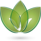 Three leaves in green, naturopath and nature logo Stock Photos