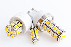 Three LED bulbs with 3-chip SMD LEDs. G9 and G4 Stock Image