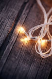Three LED bulbs of a festive Christmas garland Royalty Free Stock Photo