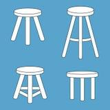 Three legged stool set. Vector illustration Stock Photography