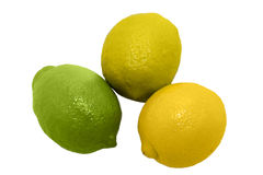 Three lemons. Three multicolor lemons lying on white background Stock Photos