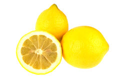 Three lemons isolated on white Royalty Free Stock Photo