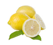 Three Lemons With Leaves Royalty Free Stock Photo