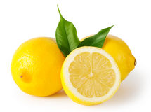 Three lemons with leaves stock photo