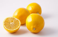 Three Lemons and a Slice Stock Photos