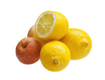 Three lemons with two apples Royalty Free Stock Image