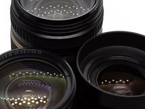 Three lenses from reflex cameras stock images