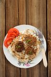 Three lentil patties with rice and tomato in white plate copyspa Royalty Free Stock Images
