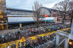 Three-level parking of bicycles in Amsterdam city centre. Stock Photo