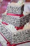Three level square wedding cake Royalty Free Stock Photo