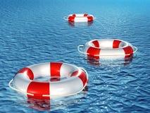 Three lifebuoys, floating on waves. Three 3d lifebuoys, floating on waves Royalty Free Stock Images