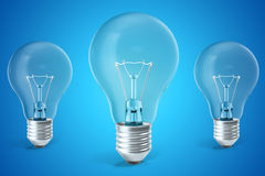 Three ligh bulb concept of ideas, innovation. 3d rendering Royalty Free Stock Image